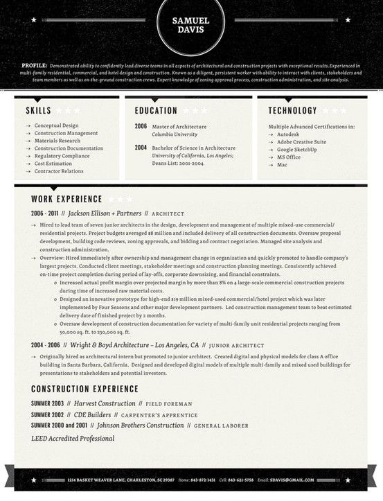 The ideal resume format is easy to read and visually appealing; if