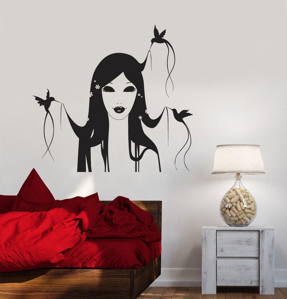 Vinyl Decal Girl Hairstyle Bird Beauty Salon Decor Hair Stylist Barber Wall Sticker Mural (ig2775)