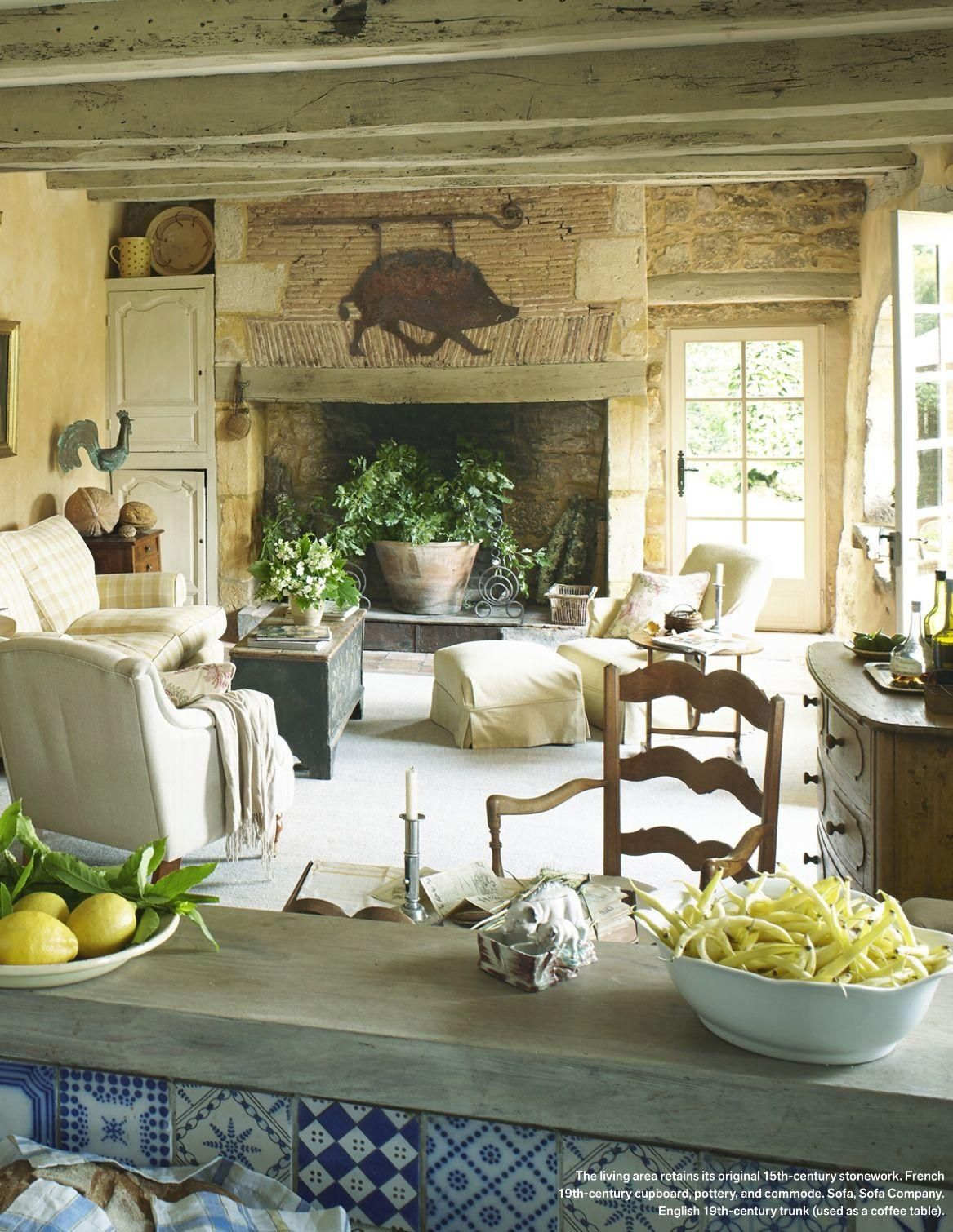 Rural Escape Farm House Living Room French Country Living Room French Country House #old #world #living #room