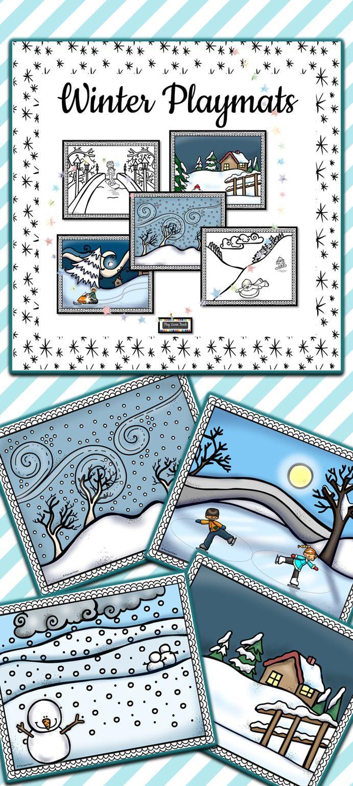 Playdough Mats Winter   snow * penguins * snow * polar bears * snow ...