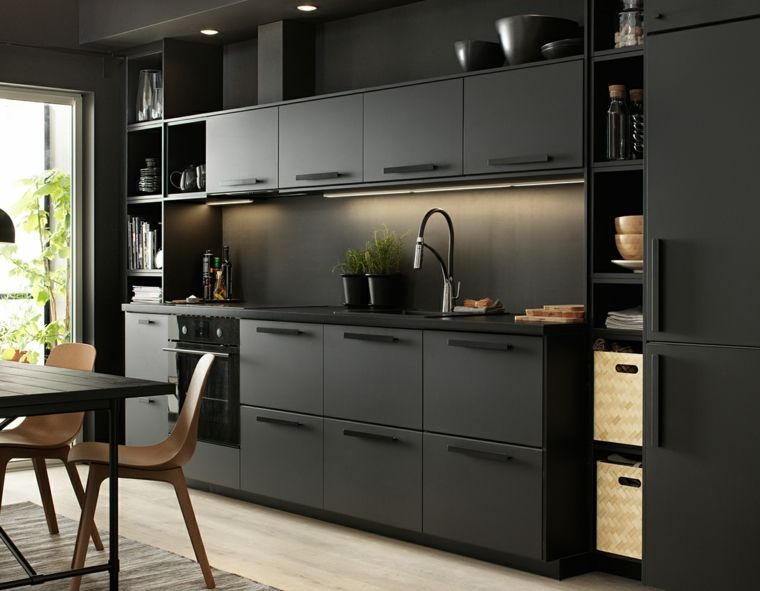 meuble cuisine ikea et id es de cuisines ikea grandes belles pratiques cuisine ikea noire. Black Bedroom Furniture Sets. Home Design Ideas