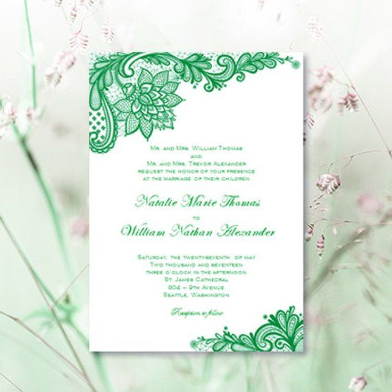 Vintage Lace Wedding Invitations Emerald Green Irish