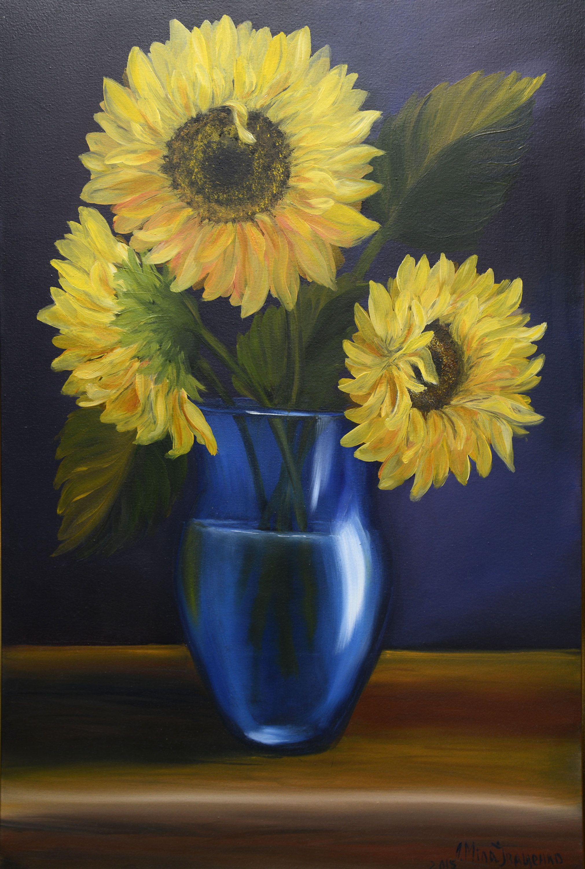 Three Sunflowers In A Blue Vase Original Oil Painting Yellow Flowers On A Dark Background Hand Painted Sunflowers Original Oil Painting Blue Vase Sunflower Art