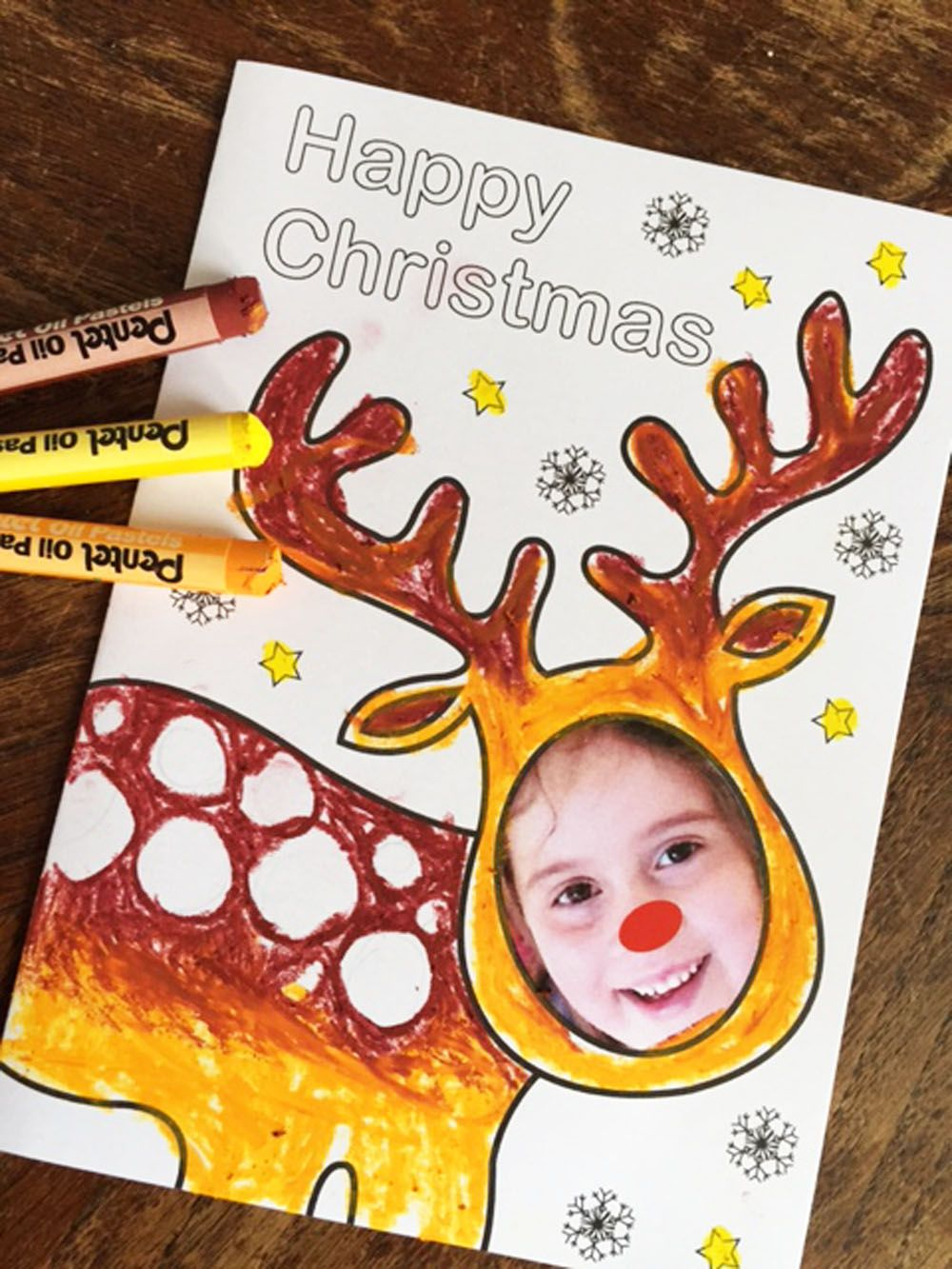 Have Fun Making Personalised Christmas Cards With This Reindeer Photo Face Downloadable Template Christmas Art Projects Diy Christmas Cards Reindeer Card