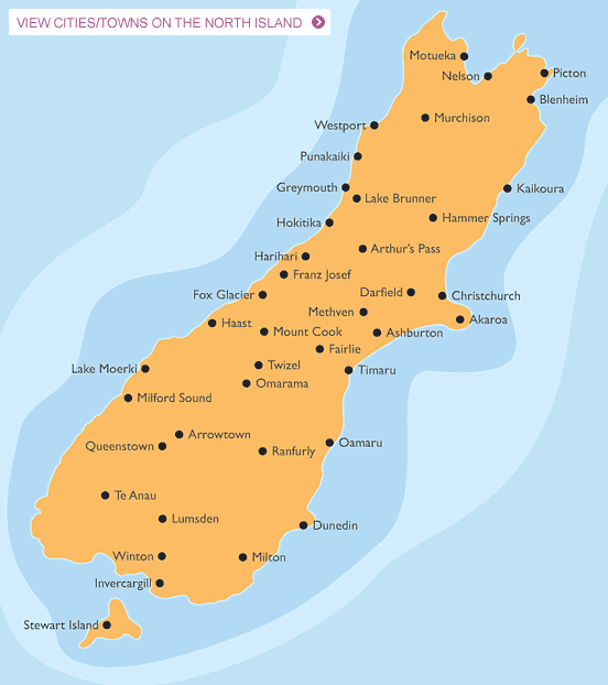 South New Zealand Map