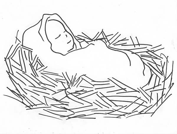 Baby Jesus Sleep Coloring Page With Images Baby Painting