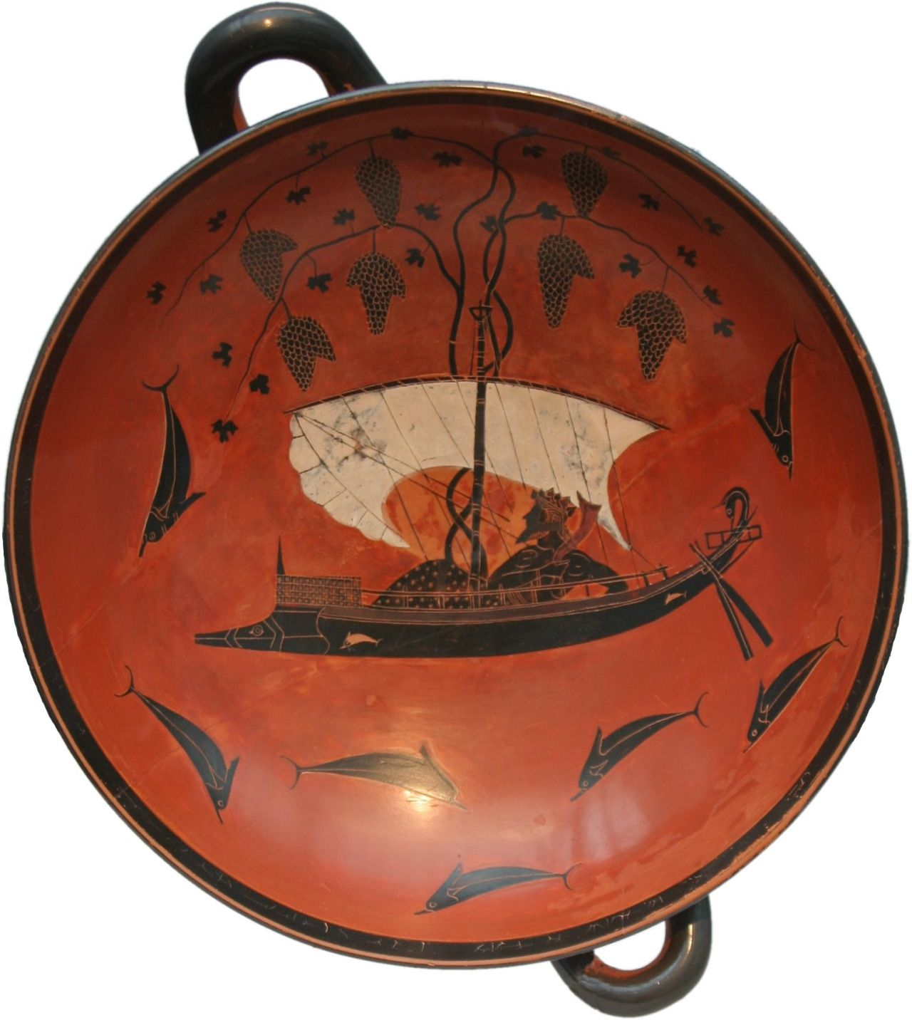 Dionysus cup, painted by Exekias ~540BC it represents a scene from a surviving Homeric hymn. [1542x1725]