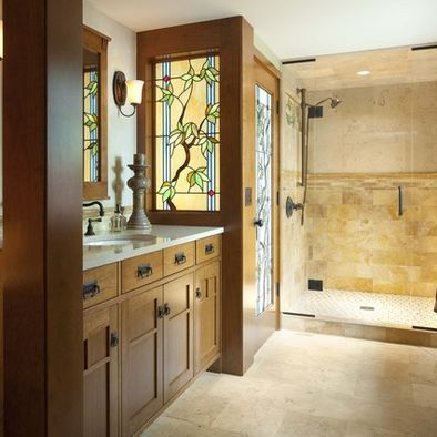Mission Style bathroom; nice cabinets; interesting stained glass