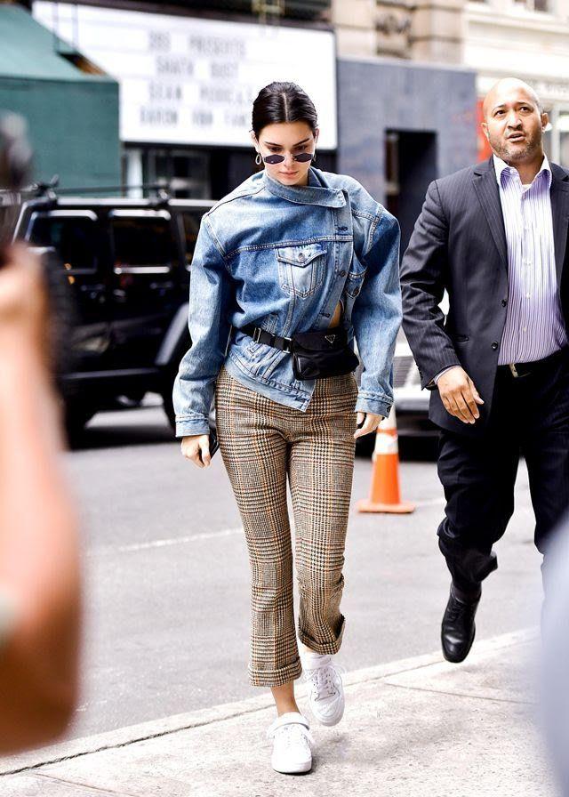 Kendall Jenner Denim Jacket Plaid Pants Street Style Clothes How