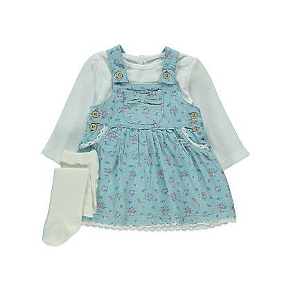 temperament shoes retail prices favorable price 3 Piece Pinafore Dress, Top and Tights Set | Baby | George ...
