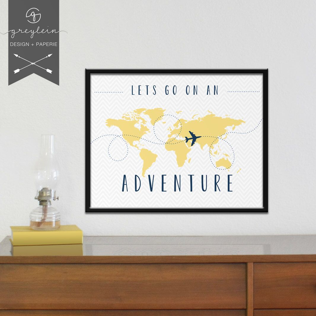 Lets go on an adventure world map print yellow grey navy world map print yellow grey navy chevron by greylein gumiabroncs Image collections