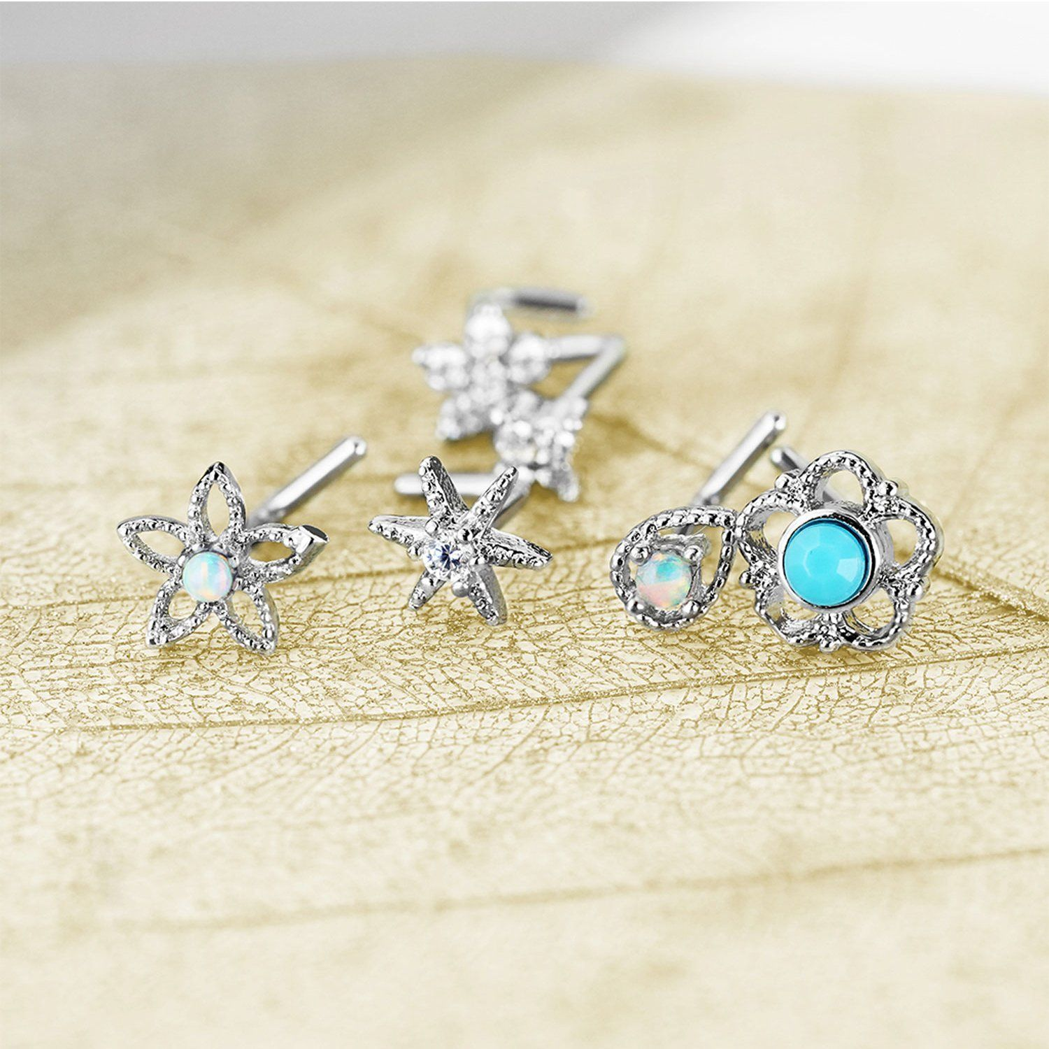 Stainless Steel Jewelry Body Piercing Nose Studs Ring Nose Rings Gems Flower