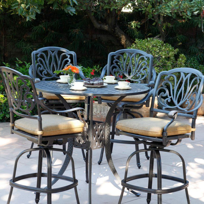 Terrific Outdoor Darlee Elizabeth 5 Piece Round Aluminum Bar Height Machost Co Dining Chair Design Ideas Machostcouk