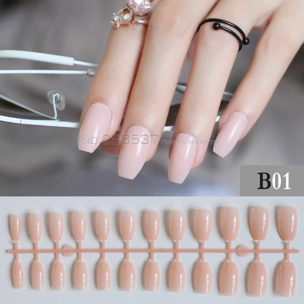 Pure colour New Ballerina False nails Designs light Pink Fashion ...