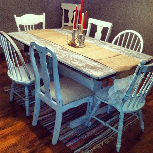 Distressed White Table With Mismatched Chairs Kitchen Chair Redo Dining Table Distressed Dining Table