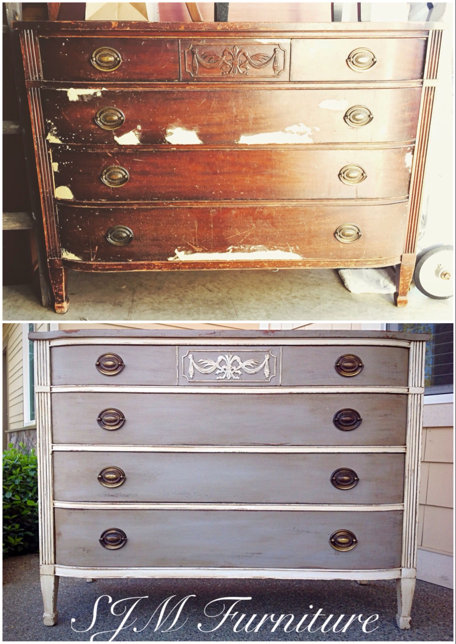 Before And After Antique Drexel Dresser Painted In White And