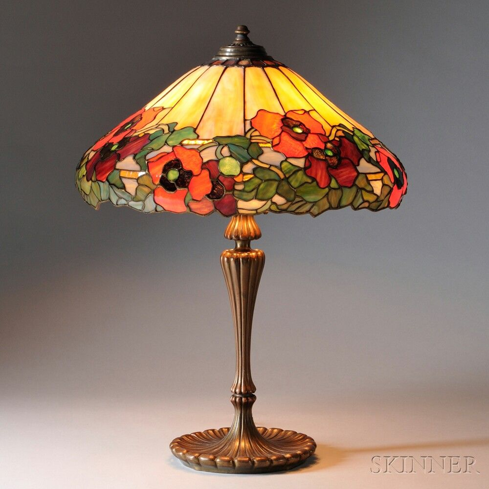Mosaic Glass Poppy Table Lamp Attributed To Wilkinson Stained Glass Lamps Antique Lamp Shades Stained Glass Lamp Shades