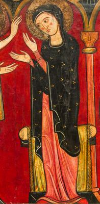 Saya o túnica bajo manto. Anunciación, anónimo, principios del siglo XII, Museo Nacional de Arte de Cataluña, Barcelona (detalle)