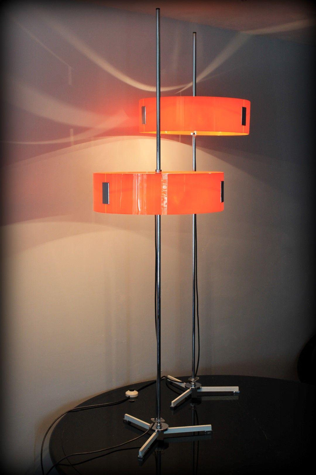 Paar Oranje Vintage Design Vloerlampen Gepo Lampen Amsterdam Vloerlamp Lampen Decoratieve Verlichting
