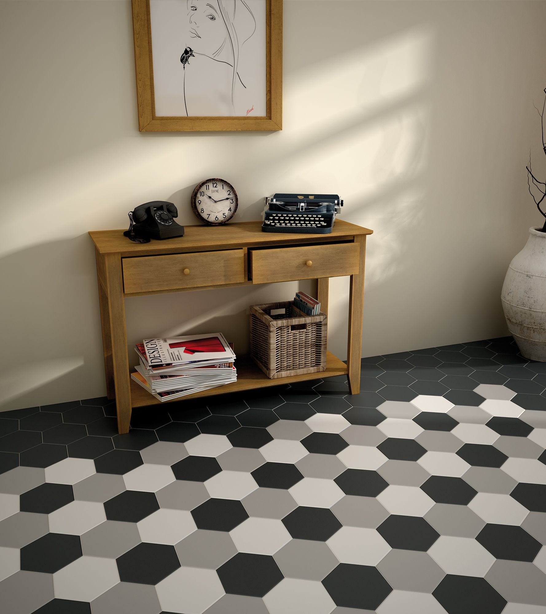 In Style Dimensionshexagonal Tiles In Black, Grey And White Colors