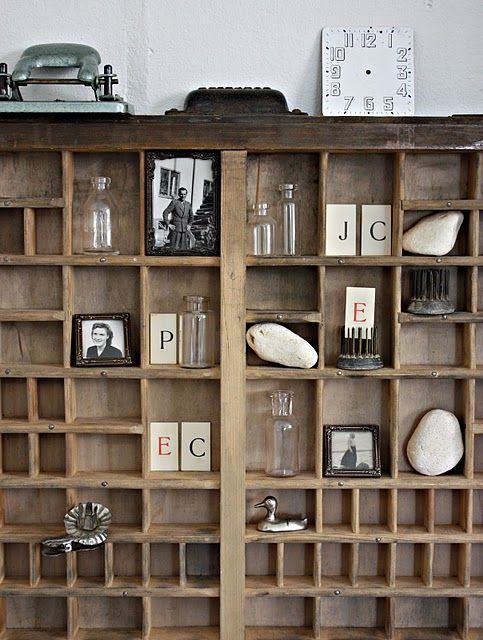 So many possibilities with an old printers tray! And we have so many different sizes. Display old photos, shells... other small collectables. Or use it to organize jewelry / spools of thread.