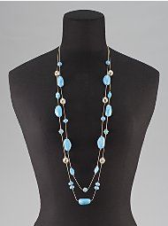 New York & Company - Necklaces - Long Two-Strand Necklace with Glass Beads
