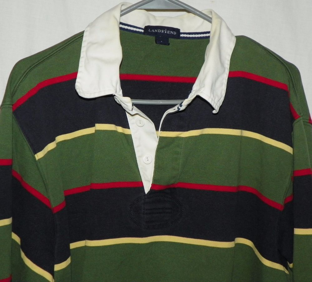 6d8597089f Vintage Lands End Striped Rugby Shirt Green Black Yellow Red Size Large  42-44 #LandsEnd #PoloRugby