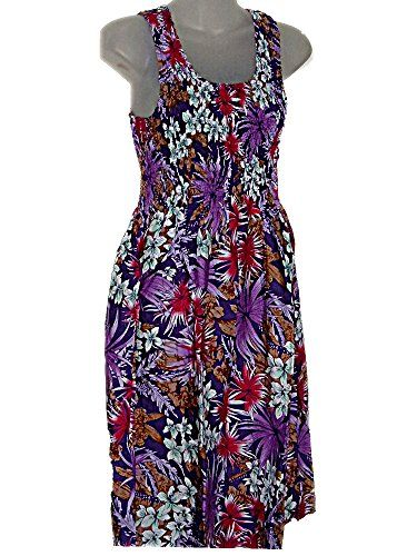 Hawaiian Flowers Purple Elastic Top Sun Dress  SL tc087 >>> Continue to the product at the image link.