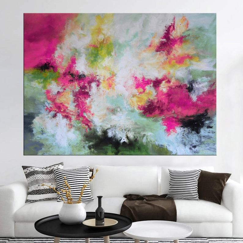 Pink Grey Wall Art Fuchsia Gray Large Painting Lime Pink Abstract Picture Pink And Lime Print On Canvas Huge Art Lobby Office Decor Grey Wall Art Pink Grey Wall Art Pink