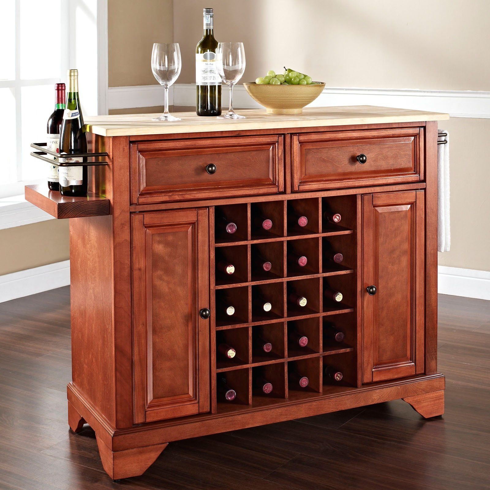 Have to have it. Crosley LaFayette Natural Wood Top Wine Island with ...