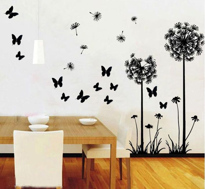 Pegatinas de pared dandelion y mariposas un singular for Stickers decorativos de pared