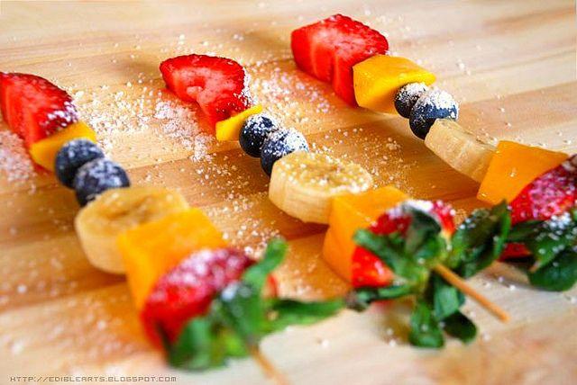 Fruta en Brochetas Recetas Dulces Pinterest Brochetas, Fruta
