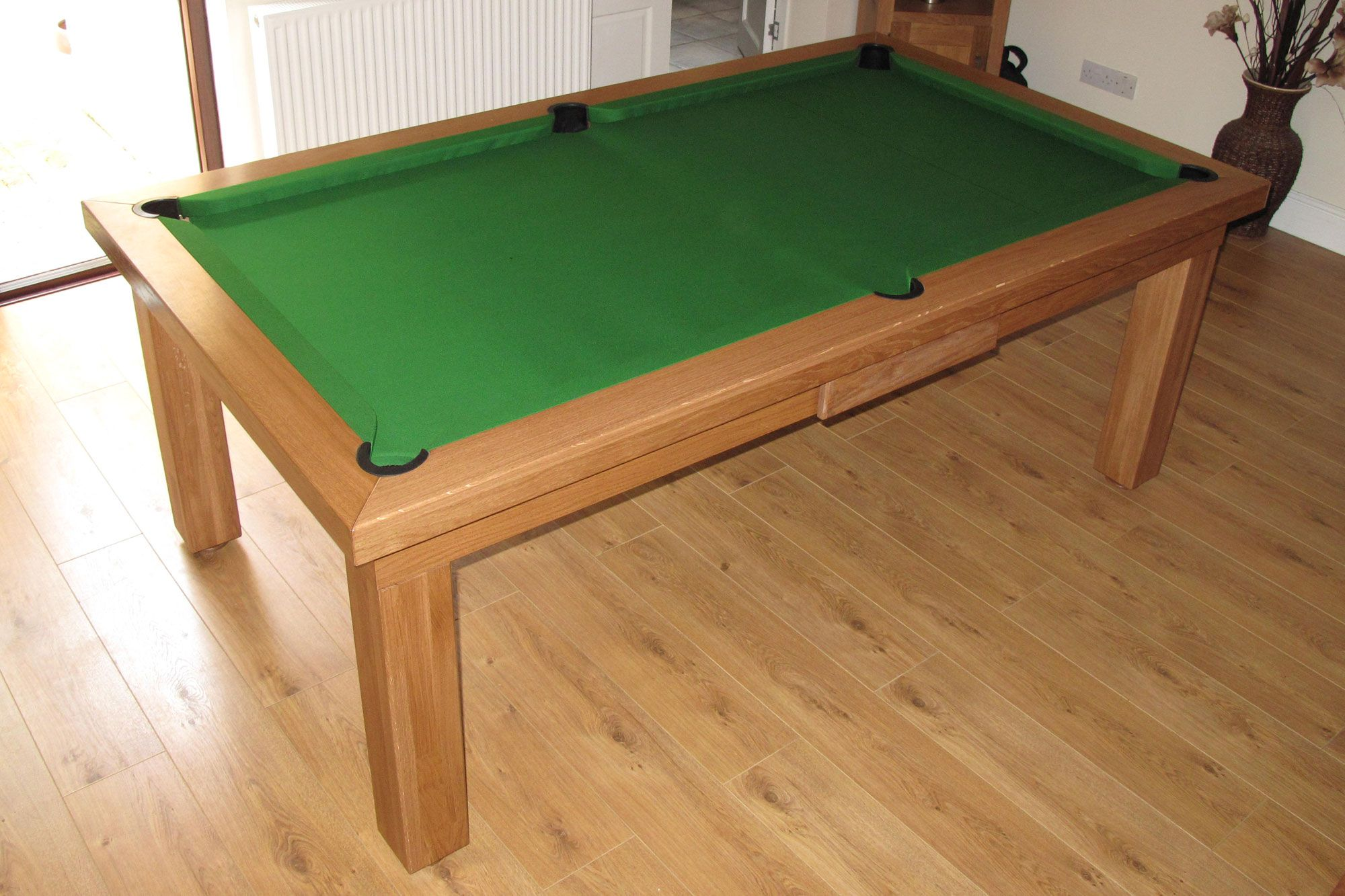 Contemporary Pool Table Range - Oak colour 5 with Hainsworth Smart Olive cloth. www.luxury-pool-tables.co.uk
