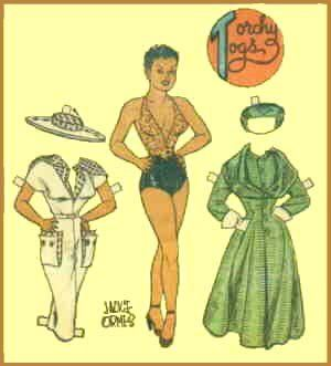 14dec4777129d A Torchy Brown paper doll with a couple of outfits. Artist  Jackie Ormes.