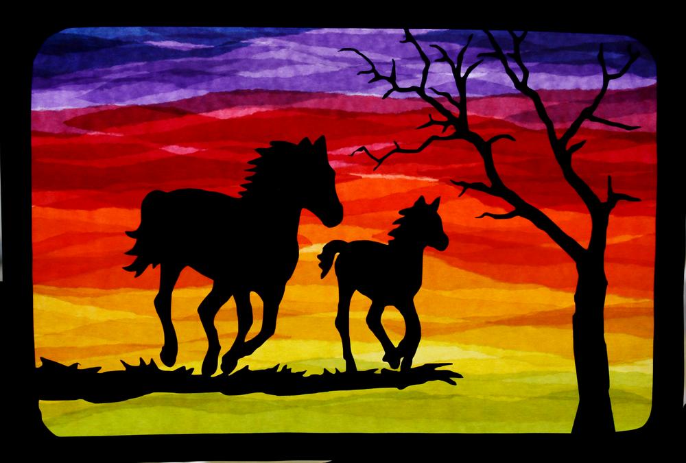 Fensterschmuck Fensterbild Pferde Im Sonnenuntergang Transparent Ein Designerstuck Von Juli Fensterbilder Pferde Silhouette Sterne Basteln Fur Weihnachten