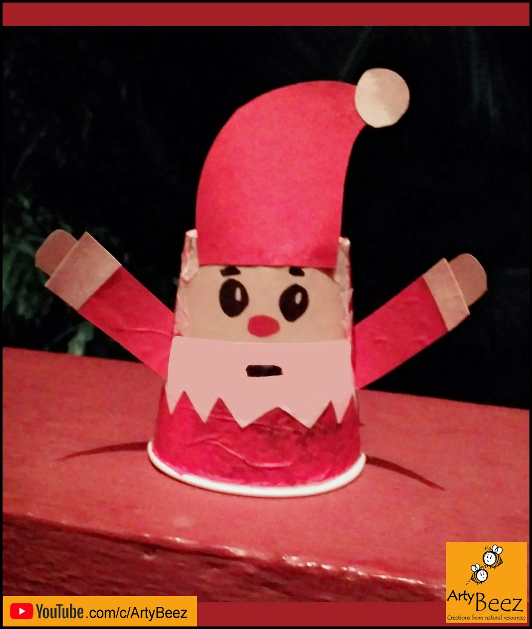 Paper cup santa Claus making/ make santa Claus with paper cups ... | 1222x1034