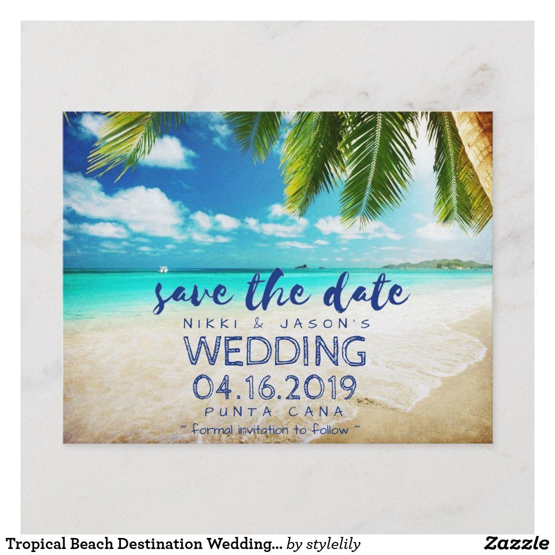 Starfish Save the Date Postcard Beach Tropical Destination Wedding