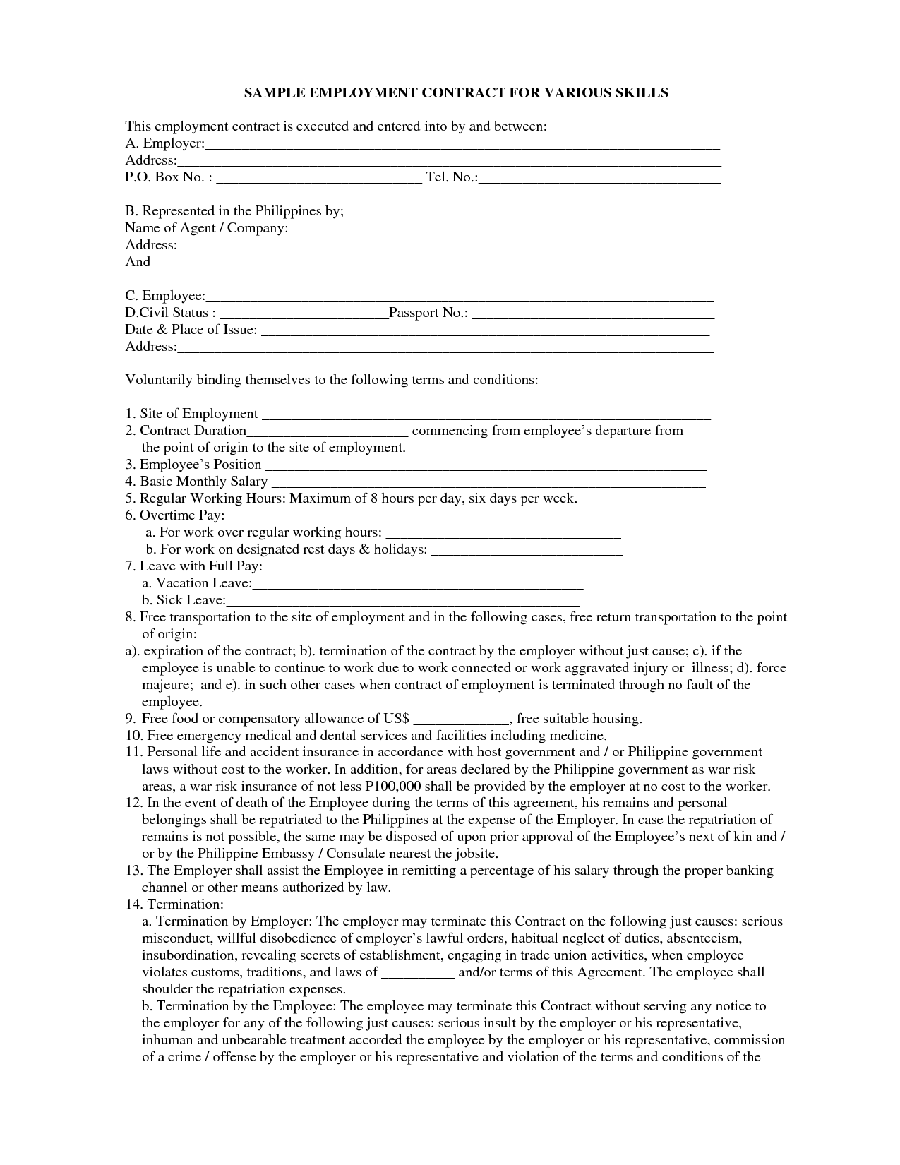 Employment Contract Sample Free Free Printable Documents Contract Template Contract Template Free