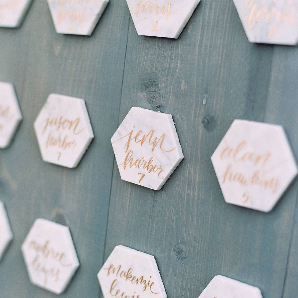 Marble hex escort cards from Cassie and Scotty's fall wedding. Loved the copper calligraphy.