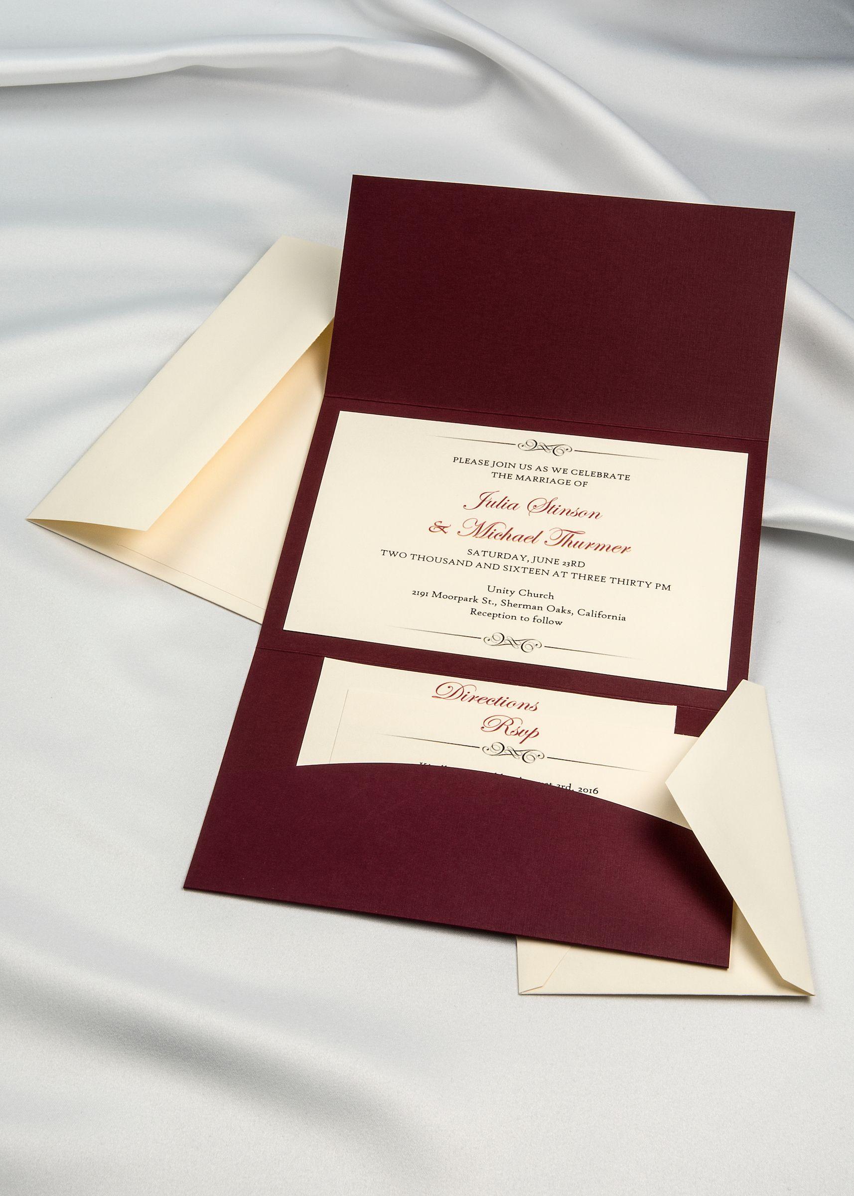Burgundy Horizon Pocket Folder with Cream Invitation card & RSVP ...