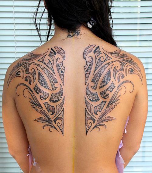 Hawaiian Tribal Wing Tattoos On Back Tattoostribal Swirls