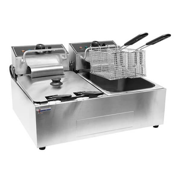 Kitchen Monkey Kmdf 6l 2 Double Tank Electric Countertop Deep Fryer 120v 3500w Outdoor Deep Fryer Countertops Outdoor Kitchen
