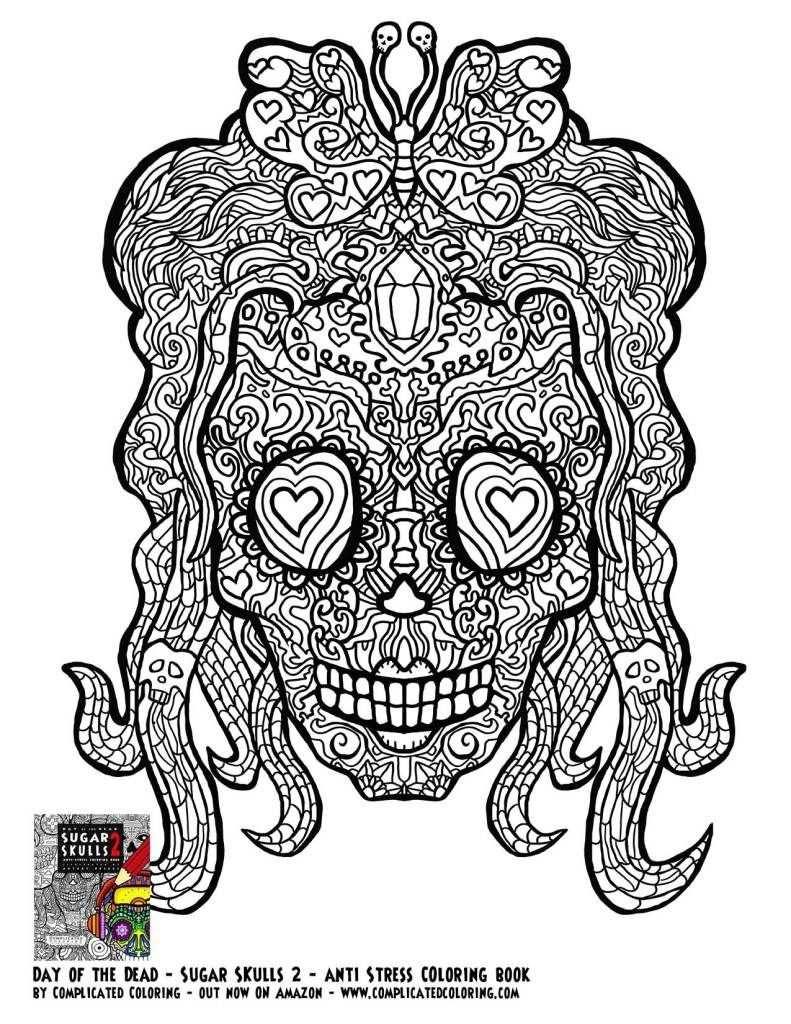 Day Of The Dead Dia De Los Muertos Sugar Skull Coloring Pages Colouring  Adult Detailed Advanced Printable Kleuren Voor Volwassenen Coloriage Pour  Adulte ...