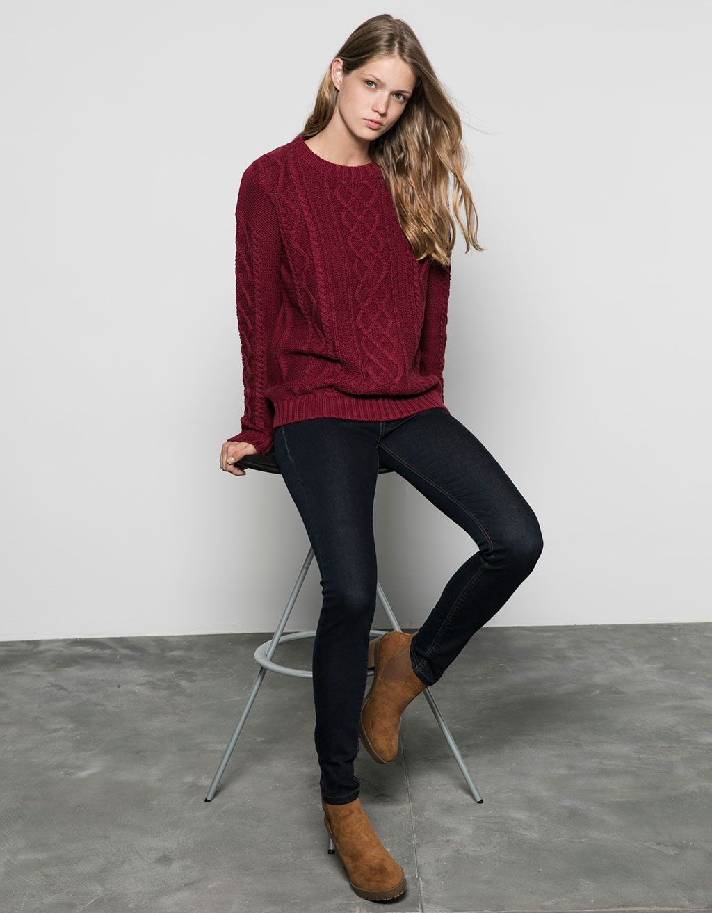 Bershka cable knit crew neck pullover - Sweaters & Cardigans - Bershka Switzerland