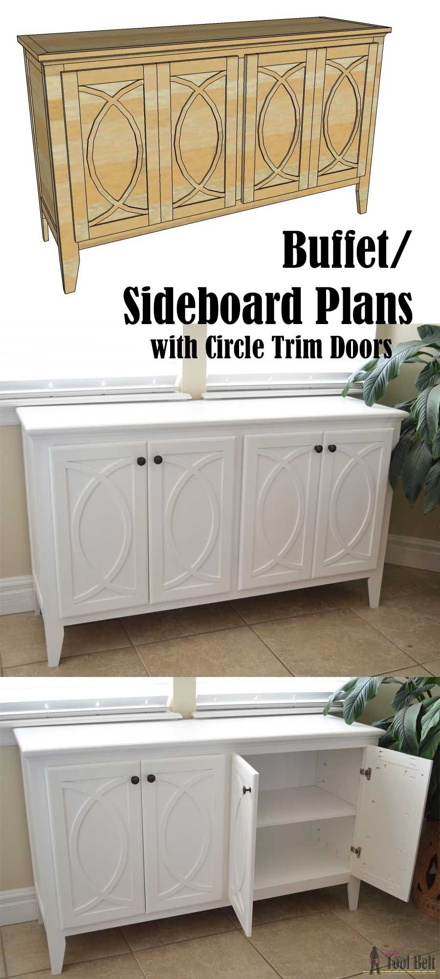 Diy Buffet Or Sideboard With Circle Trim Doors This Cabinet Boasts Plenty Of Dining Kitchen Supply Storage Free Building Plans