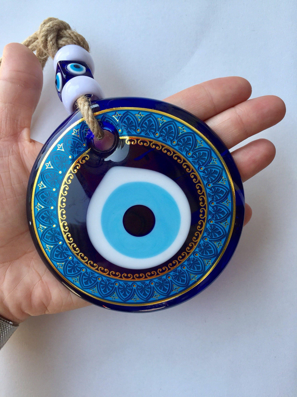 Evil Eye Wall Hanging Turkish Eye Decor Nazar Amulet Blue Etsy Eye Decor Turkish Eye Evil Eye Charm