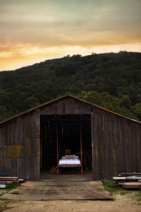 bed in a barn