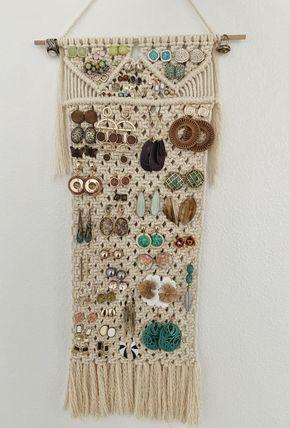 Macrame earring holder / macrame wall hanging / ta