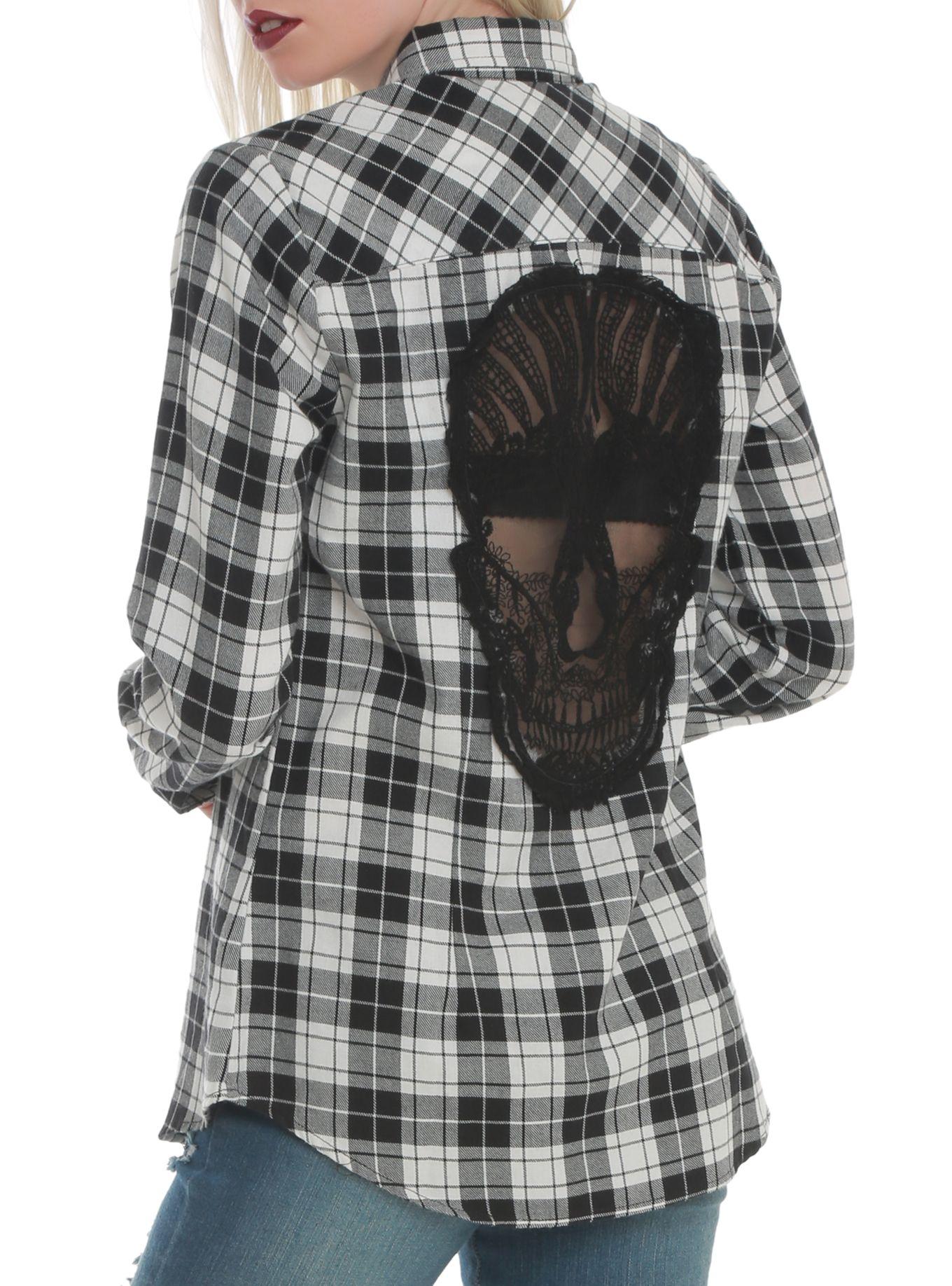 Flannel shirt black  Black u White Plaid Skull Woven Top  White plaid Hot topic and Plaid