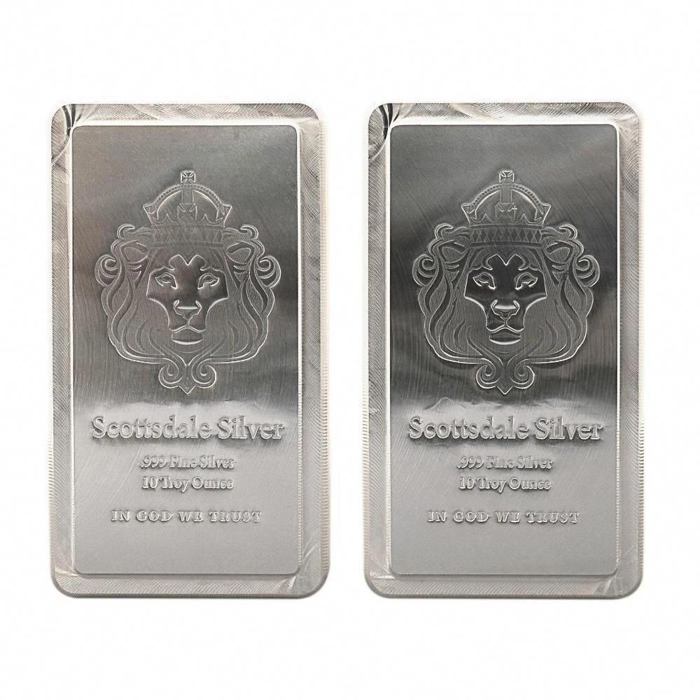 2 X 10 Oz Scottsdale Stacker Silver Bars 20 Troy Oz 999 Silver Bullion A248 14kgold Silver Bars Silver Bullion Silver